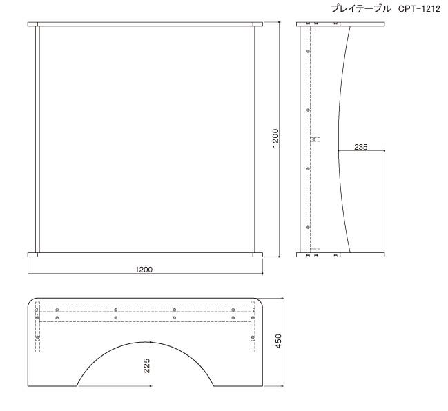 プレイテーブル(四角/大)の図面です。